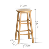 Artiss Set of 2 Beech Wood Backless Bar Stools - Natural - b-organized