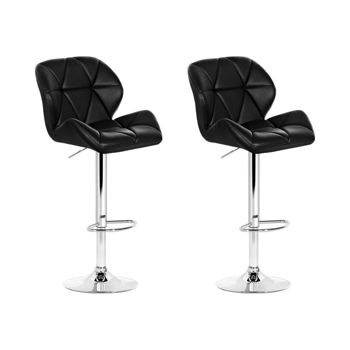 Artiss 2x Bar Stools Gas Lift Kitchen Swivel Chairs Leather Chrome Black