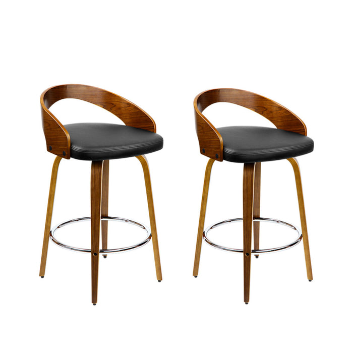Artiss Set of 2 Wooden Bar Stools - Black - b-organized