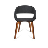 Artiss Set of 2 Timber Wood and Fabric Dining Chairs - Charcoal - b-organized