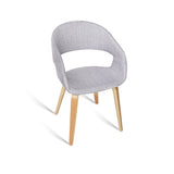 Artiss Set of 2 Timber Wood and Fabric Dining Chairs - Light Grey - b-organized