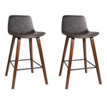 Artiss Set of 2 PU Leather Bar Stools - Walnut - b-organized