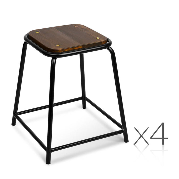 Artiss Set of 4 Pine Wood Bar Stools - Black - b-organized