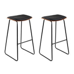 Artiss Set of 2 PU Leather Backless Bar Stools - Black - b-organized