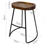 Artiss Set of 2 Wooden Backless Bar Stools - Black - b-organized