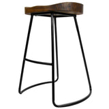Artiss Set of 2 Wooden Backless Bar Stools - Black