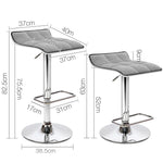 Artiss 2x Fabric Bar Stools Swivel Bar Stool Dining Chairs Gas Lift Kitchen Grey - b-organized