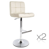 Artiss 2x Leather Bar Stools NOEL Kitchen Chairs Swivel Bar Stool Gas Lift Beige - b-organized