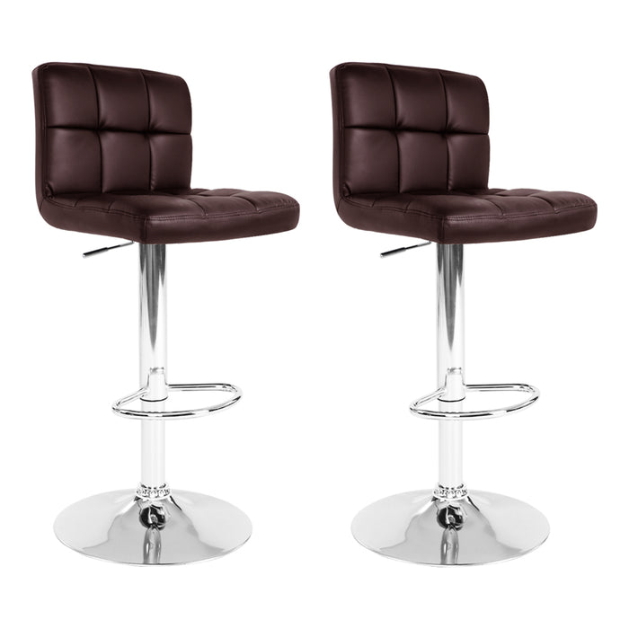 Artiss 2x Gas Lift Bar Stools Swivel Chairs Leather Chrome Chocolate - b-organized