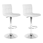 Artiss Set of 2 PU Leather Bar Stools - White - b-organized