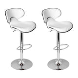 Artiss 2x Bar Stools DINO Kitchen Swivel Bar Stool Leather Gas Lift Chairs White - b-organized