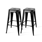 Artiss Set of 2 Metal Backless Stools - Black - b-organized