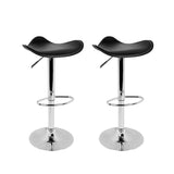 Artiss 2x Gas Lift Bar Stools Swivel Chairs Leather Chrome Black - b-organized