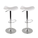 Artiss 2x Gas Lift Bar Stools Swivel Chairs Leather Chrome White - b-organized