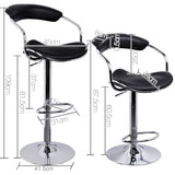 Artiss 2x Leather Bar Stools ADE Kitchen Chairs Swivel Bar Stool Black Gas Lift - b-organized