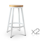 Artiss Set of 2 Wooden Stackable Bar Stools - b-organized