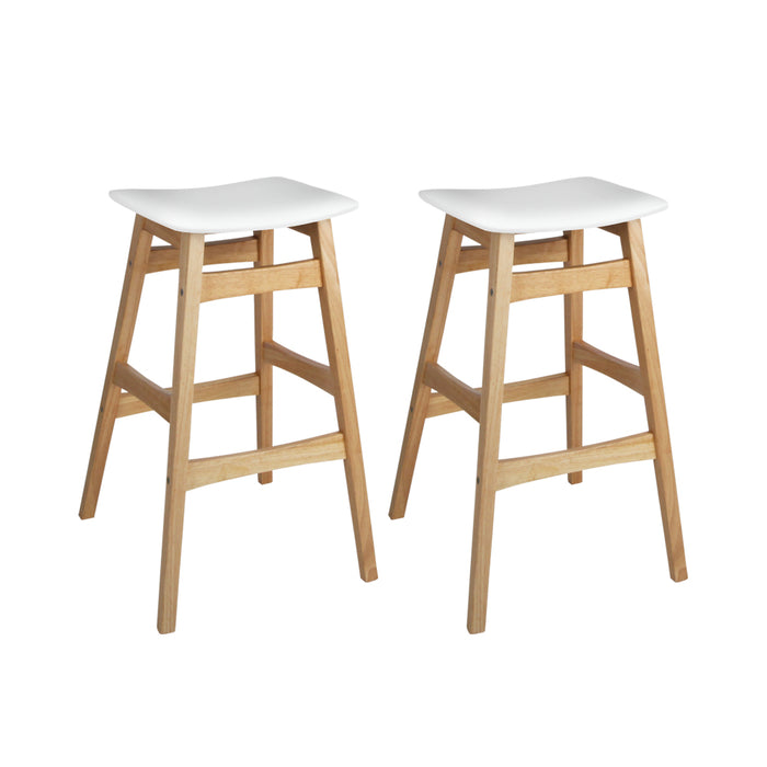 Artiss Set of 2 Wooden and Padded Bar Stools - White - b-organized