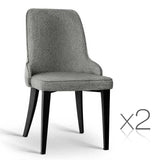 Artiss Set of 2 Fabric Dining Chairs - Grey - b-organized