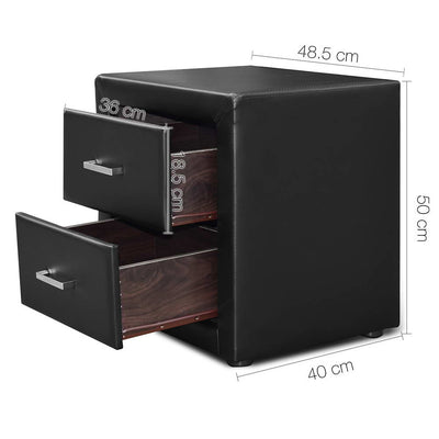 Artiss PVC Leather Bedside Table - Black - b-organized