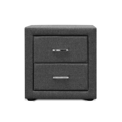 Artiss Fabric Bedside Table - Grey - b-organized
