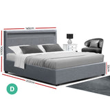 Artiss Bed Frame Double Full Size Gas Lift Base With Storage Grey Fabric COLE