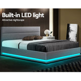 Artiss RGB LED Bed Frame Queen Size Gas Lift Base With Storage Grey Fabric LUMI