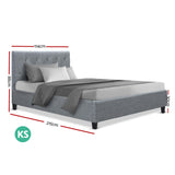 Artiss VANKE King Single Size Bed Frame Base Fabric Headboard Wooden Mattress