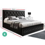 Artiss TIYO King Size Gas Lift Bed Frame Base With Storage Mattress Black Leather
