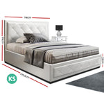 Artiss TIYO King Single Size Gas Lift Bed Frame Base With Storage Mattress White Leather
