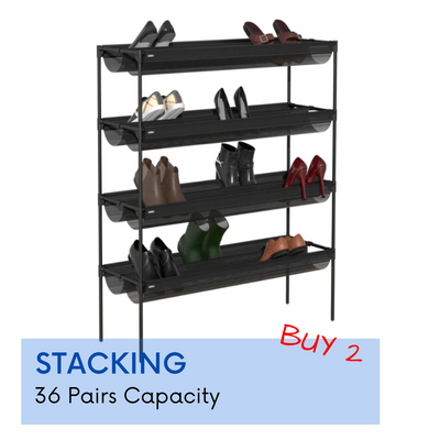 Umbra Sling  Black Stackable Shoe Rack - Perfect solution your entryway shoe storage - b-organized