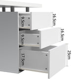 Artiss Metal Desk with 3 Drawers - White - b-organized
