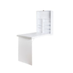 Artiss Foldable Desk with Bookshelf - White - b-organized