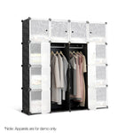 16 Cube Portable Storage Cabinet Wardrobe - Black & White - b-organized