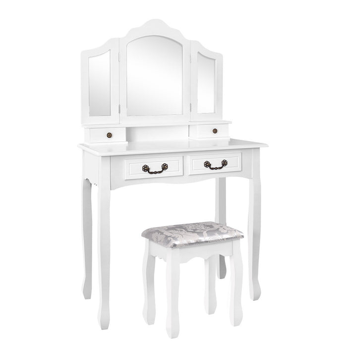 Artiss Dressing Table with Mirror - White - b-organized