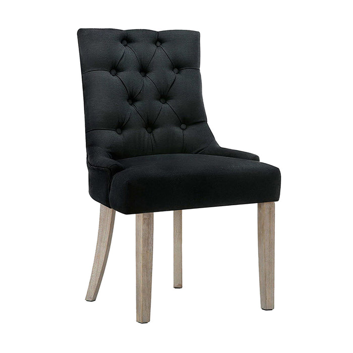 Artiss Dining Chairs Chair French Provincial Wooden Fabric Retro Cafe Black x1
