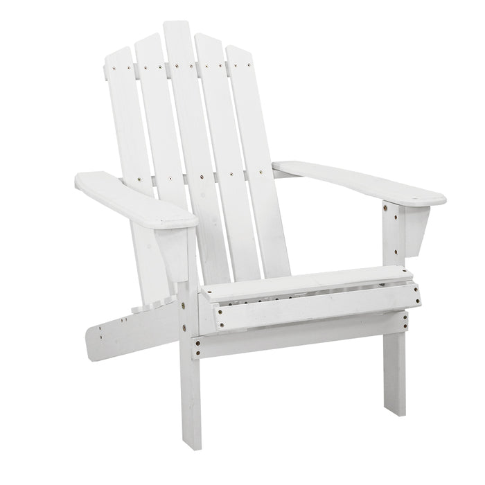 Gardeon Outdoor Sun Lounge Beach Chairs Table Setting Wooden Adirondack Patio - White