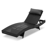 Gardeon Outdoor Wicker Sun Lounge - Black - b-organized