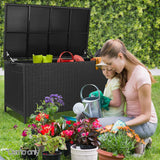 Gardeon 320L Outdoor Wicker Storage Box - Black - b-organized