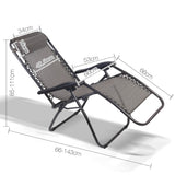 Gardeon Outdoor Portable Recliner - Grey - b-organized