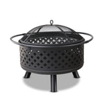 Grillz 30 Inch Portable Outdoor Fire Pit and BBQ - Black - b-organized