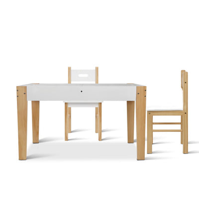 Artiss Kids Table and Chair Storage Desk - White & Natural - b-organized