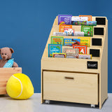 Keezi Kids Bookcase Childrens Bookshelf Organiser Storage Shelf Wooden Beige - b-organized