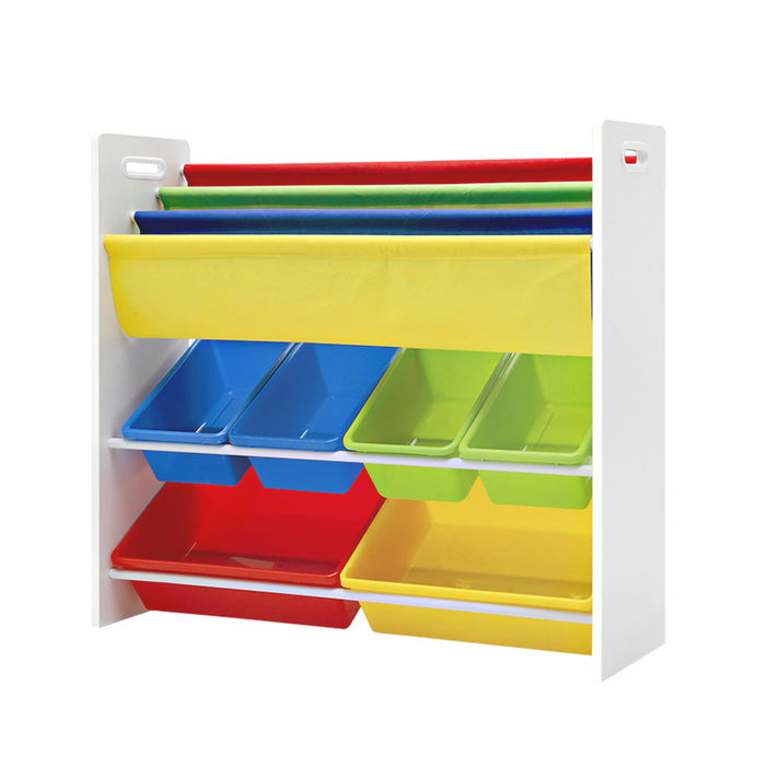 Keezi Kids Bookcase Childrens Bookshelf Toy Storage Organizer 3Tier Display Rack - b-organized