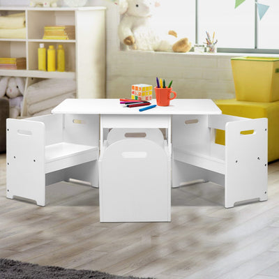 Artiss Kids Table and Chair Set - White - b-organized