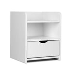 Artiss Bedside Table Drawer - White - b-organized