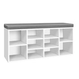 Artiss Fabric Shoe Bench with Storage Cubes - White - b-organized