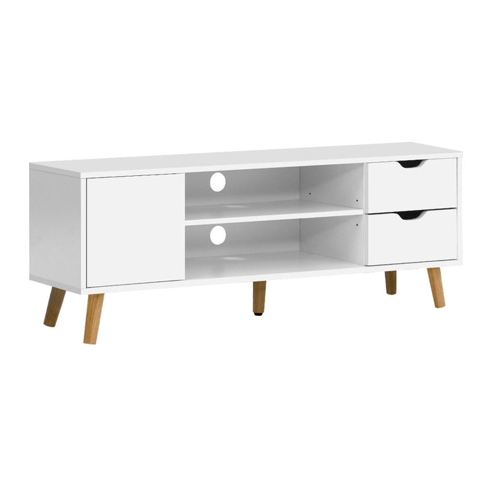 Artiss TV Cabinet Entertainment Unit Stand Wooden Scandinavian 120cm White - b-organized