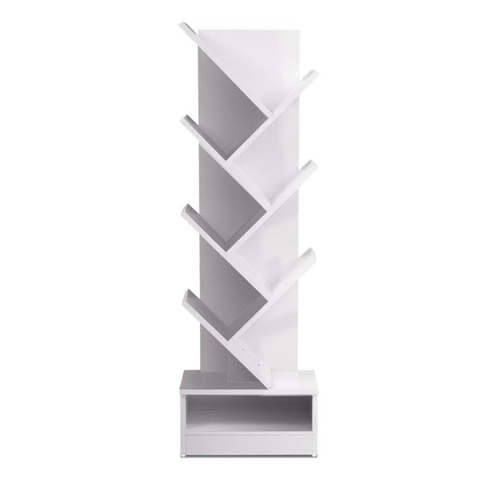 Artiss Display Shelf 7-Shelf Tree Bookshelf Book Storage Rack Bookcase White - b-organized
