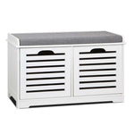 Artiss Fabric Shoe Bench with Drawers - White & Grey - b-organized