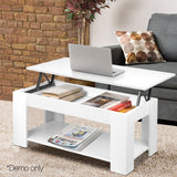 Artiss Lift Up Top Mechanical Coffee Table - White - b-organized